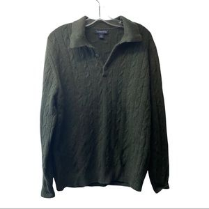 Lands end 100% cashmere sweater knit style soft size medium army green unisex